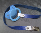 Adult Size Pacifier with Fixed Leather Paci Holder Clip Strap,